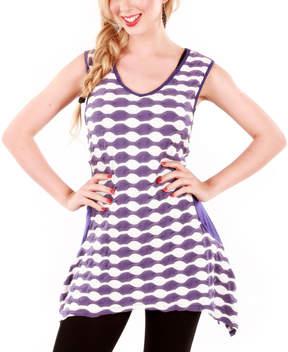 Lily Lavender & White Scallop Sleeveless Sidetail Tunic - Women