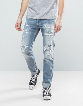 Replay Ronas Slim Fit Jeans Rip and Repair Light Wash