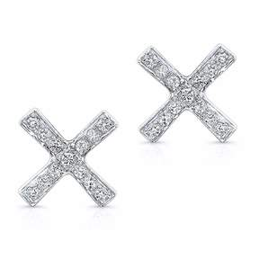 Anne Sisteron White Gold Diamond X Stud Earrings