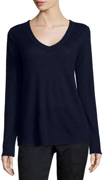 ATM Anthony Thomas Melillo V-Neck Raw-Edge Cashmere Sweater