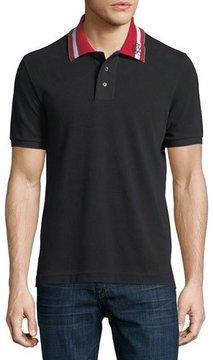 Bally Striped-Collar Polo Shirt, Black
