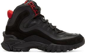 Versace Black and Red Greek Key Formal High-Top Sneakers