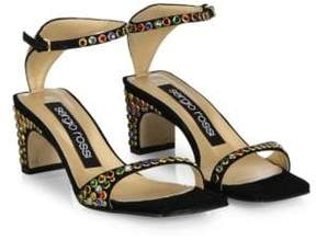 Sergio Rossi SR1 Jeweled Suede Ankle-Strap Sandals