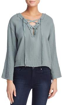 Bella Dahl Lace-Up Frayed-Trim Top