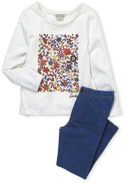 Lucky Brand Girls 4-6x) Two-Piece Floral Fringe Top & Jeggings Set