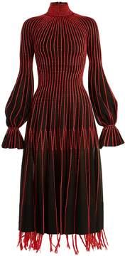 Alexander McQueen Contrast-stitching high-neck silk dress