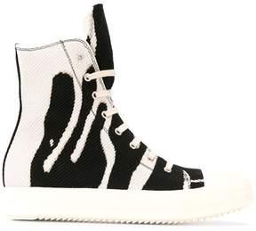 Rick Owens ink print hi-top sneakers