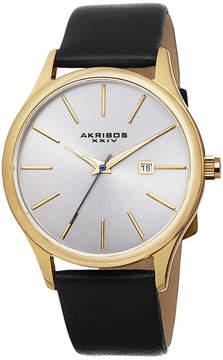 Akribos XXIV Mens Black Strap Watch-A-618yg