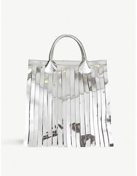 MM6 MAISON MARGIELA Tasselled metallic faux-leather tote bag