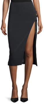 David Koma Side-Slit Cady Button-Trim Skirt