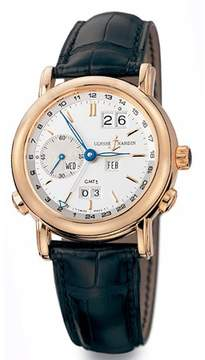 Ulysse Nardin GMT Perpetual Silver Dial 18kt Rose Gold Black Leather Men's Watch