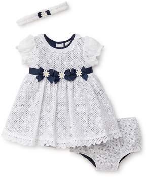 Little Me Baby Girl's Cotton Eyelet Three-Piece Dress, Headband and Bloomer Set