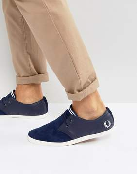 Fred Perry Byron Low Leather Perforated Suede Sneakers in Blue