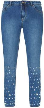 Dorothy Perkins Mid Wash Straight Embellished Jeans