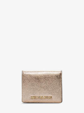 Michael Kors Jet Set Travel Metallic Saffiano Leather Card Holder - GOLD - STYLE