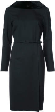 Carolina Herrera fur-trimmed fitted dress