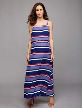 A Pea in the Pod Moon + Sky Pleated Stripe Maternity Maxi Dress