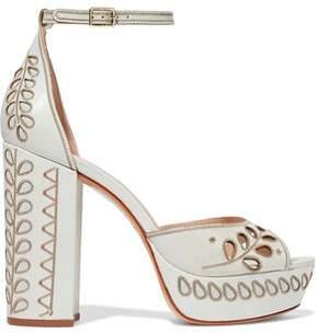 Rachel Zoe Laser-Cut Embroidered Leather Platform Sandals