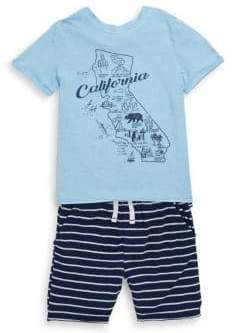 Splendid Baby's, Toddler's, Little Boy's& Boy's Two Piece Map Tee& Stripe Shorts Set