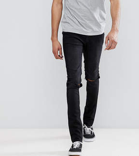 Cheap Monday TALL Tight Black Skinny Jeans with Knee Rip