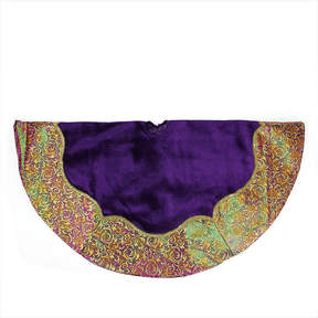Asstd National Brand 48 Regal Peacock Purple Velvet with Gold Flourish Two-Tone Metallic Border Christmas Tree Skirt