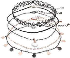 Mudd Two Tone Disc & Tattoo Choker Necklace Set