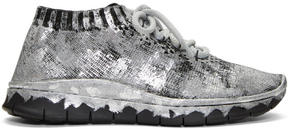Maison Margiela Black and Silver Painted Knit Sneakers