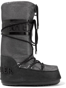 Moncler Moon Boot Saturne Metallic Shell And Nubuck Snow Boots - Silver