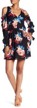Charles Henry Cold Shoulder Floral Dress