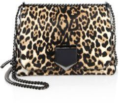 Jimmy Choo Lockett Petite Leopard-Print Calf Hair Chain Shoulder Bag