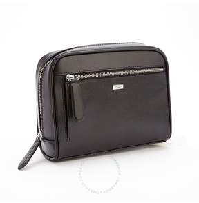 Royce Leather Royce Toiletry Saffiano Leather Travel Grooming Wash Bag - Black