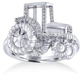 Ice Diamond Tractor Ring 1/10 ct tw Round-cut Sterling Silver