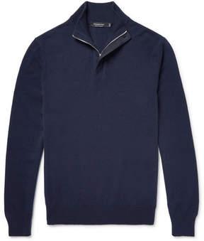 Ermenegildo Zegna Suede-Trimmed Cashmere Half-Zip Sweater