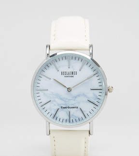 Reclaimed Vintage Inspired Marble Leather Watch In White