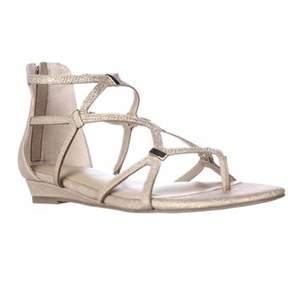 Thalia Sodi Ts35 Pam Strappy Wedge Sandals, Gold Metallic.