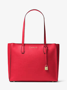 Michael Kors Mercer Large Top-Zip Leather Tote - RED - STYLE