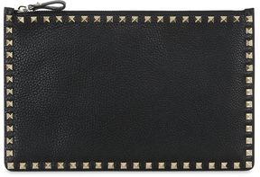 Medium Rockstud Grained Leather Pouch