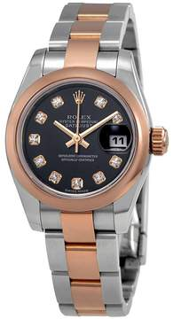 Rolex Datejust Black Diamond Dial Ladies Steel with 18K Everose Gold Oyster Watch