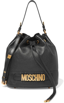 Moschino - Textured-leather Bucket Bag - Black