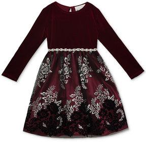 Rare Editions Flocked Glitter Mesh Dress, Baby Girls (0-24 months)