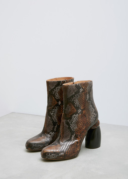 Dries Van Noten Brown Snakeskin Ankle Boot