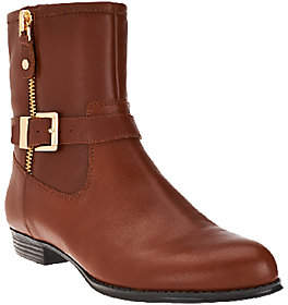 Isaac Mizrahi Live! Leather Moto Boots w/Buckle Detail