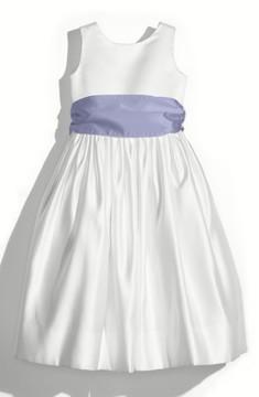 Us Angels Toddler Girl's White Tank Dress With Satin Sash