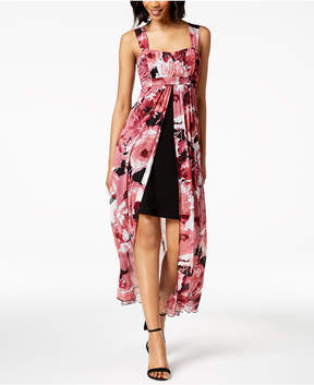 Connected Floral-Print High-Low Maxi Dress