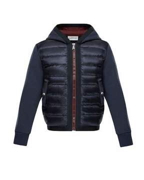 Moncler Down Quilted Hooded Jacket w/ Knit Sleeves, Size 8-14