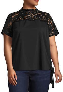 Boutique + + Short Sleeve Mock Neck Woven Blouse - Plus