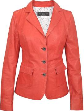 Forzieri Three-Button Red Leather Jacket