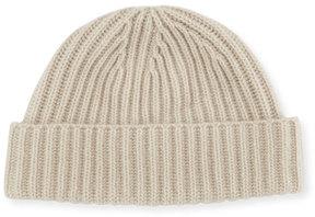 Portolano Rib-Knit Cashmere Hat, Ivory