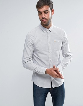 Farah Webber Small Check Shirt Slim Fit Buttondown in Ecru