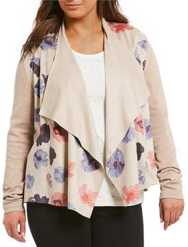Allison Daley Plus Floral Print Faux Suede Open Front Cardigan